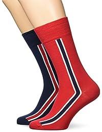 Calcetines Tommy Hilfiger Pack 2 Raya Vertical Hombres De, Marina De Guerra/rojo