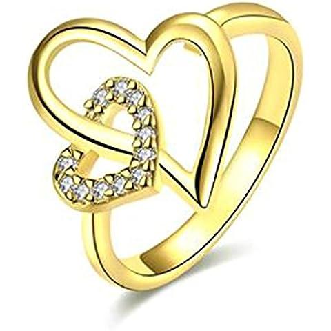 AnaZoz Anillo de Banda Boda Para Mujer Chapado en Oro Doble Amor Corazón Infinito Diamantes de Imitación de Cristal
