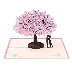 Idea Regalo - Vicloon Biglietto d'Auguri, 3D Carta Matrimonio Anniversario San Valentino La Festa Della Mamma Nozze Carta Pop up Amanti Romantici Sotto il Ciliegio per Moglie Marito Fidanzata Sposa e Madre