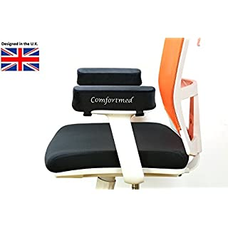 Comfortmed UK Chair arm pad Thick (25x10x5cm) Memory Foam Replacement arm pad Rests for Office Chair, Gaming, Cane, Rocking and Wheel Chairs Armpad Cushion Covers Armrests 5cm Thick Elbow Ulnar Nerve