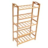 Questquo 3/4/5 Tiers Shoe Racks Storage Bench Bamboo Entryway Shoe Rack Organizer Shelf Furniture Size #3