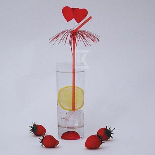 Kogler 22124 Amore Flex-Strohhalme in Präsentationsbox, Kunststoff, Rot, 50 Stück -