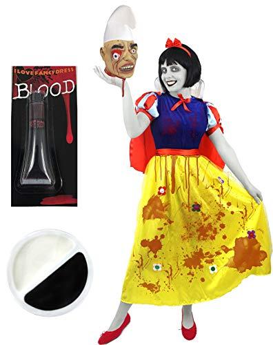 e Halloween Fasching Karneval MÄRCHEN Schneewittchen KOSTÜM VERKLEIDUNG+Make UP +Blut+ZWERGEN Kopf MIT MÜTZE=Kleid-XSmall ()