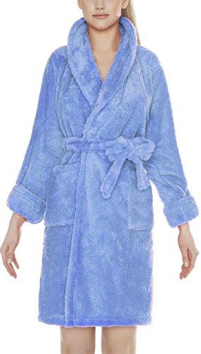 m.Lyra Damen Bademantel Marie 90cm mit Schalkragen und Wunschnamen bestickt (XS - 2XL) Blau