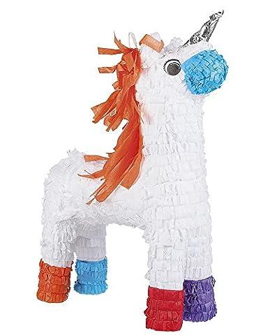 Pinatas - große Motivauswahl, kleiner Preis - Kindergeburtstag Geburtstag Party Pinata zum Befüllen, Farbe:Einhorn weiß silbernes Horn