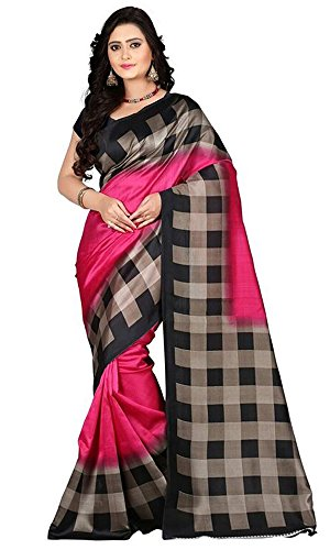 Rensil Women\'s Pink & Black Color Art Silk Fabric Saree With Unstitched Blouse Piece
