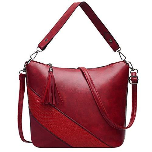 VADFLOD Frauen Satchel Leder Color Block Croc Pattern Neueste Nachricht Tasche mit Griff Niet Stud Laptop Aktentasche Vintage, rot -