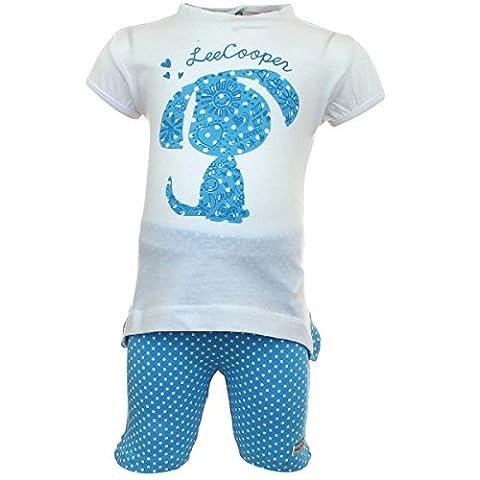 Lee Cooper Ensemble T-shirt Manches courtes avec Legging Bébé Fille Dog - Bleu - 3 mois