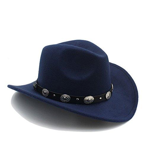 m Männer Western Cowboy-Hut mit breiter Krempe Punk Gürtel Cowgirl Jazz Cap mit Leder Toca Sombrero Cap 23 ( Color : 8 , Size : 57-58cm ) (Cowboy Kostüm Diy)