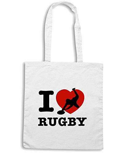 T-Shirtshock - Borsa Shopping TRUG0020 i love rugby light logo Bianco