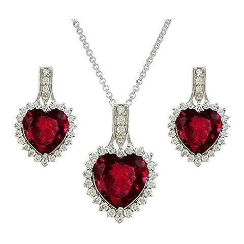 SELOVO Red Heart Garnet-color Cubic Zirconia Pendant Necklace Stud Earrings Set for Women Teen Girls