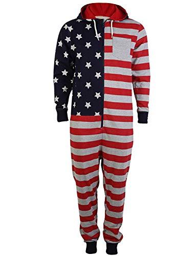 QL5 Tokyo Laundry Herren Jumpsuit USA Amerika Trainingsanzug Overall Onesie L (Herren Strampelanzug Amerika)