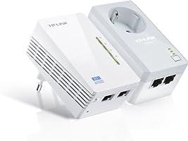TP-Link TL-WPA4226KIT AV500 WiFi N300 Powerline Netzwerkadapter (WLAN Repeater, integrierte Steckdose, 2 Ports, kompatibel mit Adaptern anderer Marken, 2-er Set) weiß