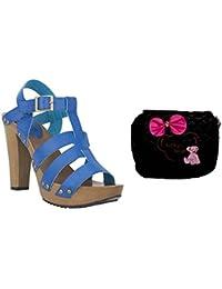 Estatos Pattern Leather Open Toe Buckle Closure Block Wooden Heel Blue Gladiator Sandals With Black Sling Bag