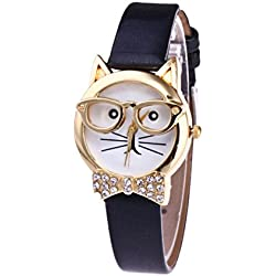 HARRYSTORE Cute Glasses Cat Women Analog Quartz Dial Wrist Watch Leather Band