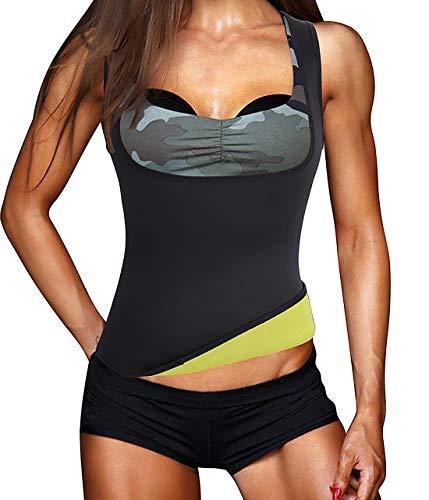 Frauen Fitness figurformend Unterbrust Taillenmieder Bauchweg & Sauna Schwitzeffekt Sport Training Body Shapewear flexibel stark formend Taillenformer Neopren Weste (6 Größen verfügbar) (Schwarz, L)