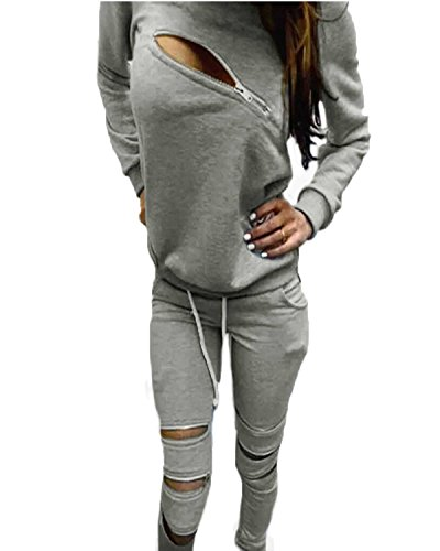 ZANZEA Donna Tuta Da Ginnastica Pantaloni Zip Zipper Top Hoody Jogging Giacca Fitness Grigio IT 46/US 14