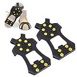 Hivexagon 10-Nieten Anti-Rutsch-Eisschneegriffe Schuhabdeckungen,10 Krallen Eisschnee-Steigeisen Spikes Griffschalen, Steigeisen, Stollen CP019 (L)