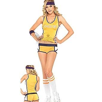 2pcs short haut basket base-ball Foot Pom pom girl cheer leaders femme fille deguisement costume tenue fete soiree taille unique jaune