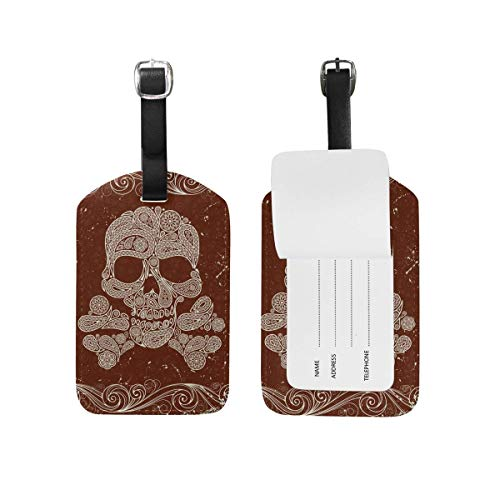 Kofferanhänger Vintage Skull Tribal Leather Suitcase Labels Bag Travel Accessories - Set of 2 89tAGS1760 -
