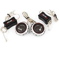 sourcingmap® 2 Pz Nero Tono Argento Dome Audio Tweeter Megafono 180W per auto - Megafono Auto