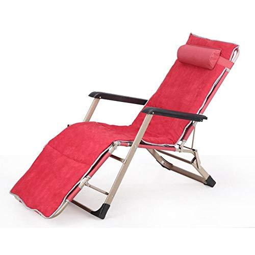 XITER Klappstuhl Siesta Bett Pflegebett Klappbett Liege Bett Strandkorb Indoor Lounge Chair mit verstellbarem, gepolstertem Kissen Rot