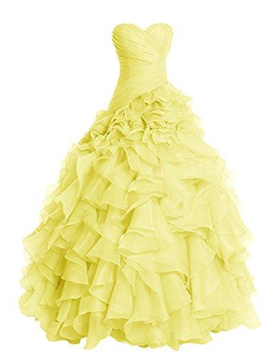 Fanciest Damen Ruffles Organza Ball Kleider Ball Kleider for Quinceanera Burgundy Yellow