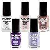 SET - 5x Stampinglack 11ml - weiss + pearly violet + nude rose + nude beige + mauve, hochpigmentiert, Pinselflasche, 5x 11ml