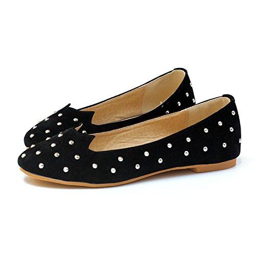 LvYuan-mxx Chaussures plates pour femmes / Printemps été automne / Casual / rivets en métal / talons plats Round toe / Office & Career Dress BLACK-37