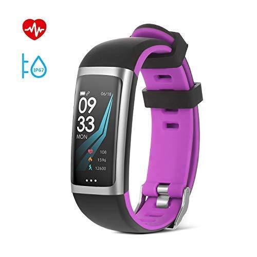 SAVFY Montre Connectée Homme/Femme Bracelet Connecté IP67 Etanche avec Ecran Couleur Fitness Tracker d'Activité Bluetooth Cardio/Podometre/Calorie/Notification/Sommeil pour iPhone et Android – Violet