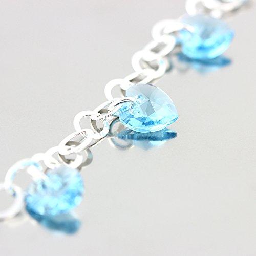 LillyMarie Damen Armband Sterlingsilber 925 original Swarovski Edelsteine Kristall Herzen hellblau längen-verstellbar Geschenkverpackung, Geschenk Freundin - 4