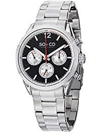 SO & CO New York Men's Quartz Watch with Black Dial Analogue Display and Silver Stainless Steel Bracelet 5004.1
