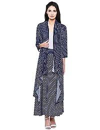 DAMEN MODE Women's Viscose Stripe Shrug and Skirt Combo Set (DMSRG2000_C, White and Black, Free Size)