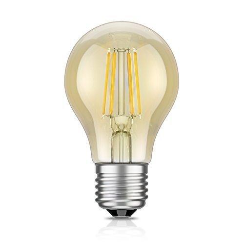 ledscom.de LED Leuchtmittel Filament A60, Glas, E27, 4 W, Gold, 10.5 x 6 x 6 cm (Licht Led-glas)