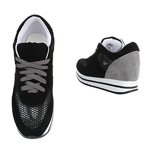 Ital-Design - Pantofole a Stivaletto Donna Schwarz 6550-Y
