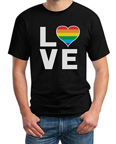 LGBT Shirt Homosexuell Gay Pride Regenbogen Herz in Love Rainbow Herren T-Shirt XXXX-Large Schwarz