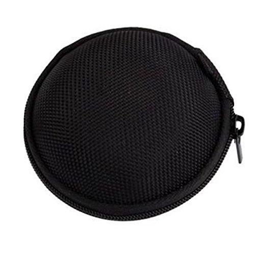 Unicoco mignon rond Coque rigide de rangement pour casque audio cartes SD TF poche en toile intérieure (noir)