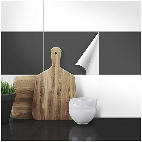Wandkings Fliesenaufkleber - Wähle eine Farbe & Größe - Dunkelgrau Seidenmatt - 19,5 x 24,5 cm - 20 Stück für Fliesen in Küche, Bad & mehr