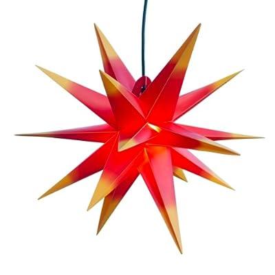 Mit LED Außenstern 18 Stern rot mit gelben Spitzen - beleuchteter Stern Weihnachtsstern Adventsstern Faltstern von Werterhalt ums Haus bei Lampenhans.de