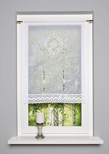 Scheibengardinen Kurzgardine Scheibenhänger FRENCH COUNTRY 60 x 100 cm oder 90 x 100 cm (BxH) (Spitzenabschluss Breite)