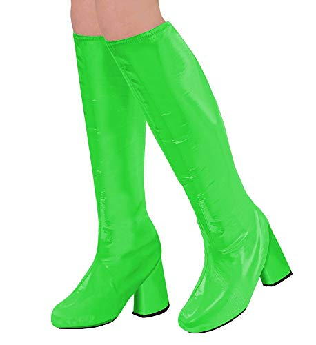shoperama 60er 70er Lack Damen Stiefel Überzieher Stulpen glänzend Disco Festival Show Revue Kostüm-Zubehör, - Grüne Kostüm Zubehör