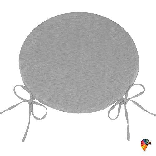 Arketicom (set 4 pz) cuscini sedie cucina rotondi sfoderabili senza alette cotone poliestere copri sedia tondo (cuscino casa giardino) personalizzabili 35x35 spessore 3 cm tessuto (40x40 (+ lacci), grigio cannettato)