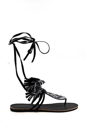 Damen Schuhe Gladiator Schnür-Sandalen Zehen-Trenner offen mit Fransen Wildleder Optik in schwarz oder beige Massai-Design, Farbe:Schwarz, Größe:39