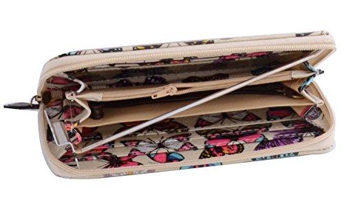 LeahWard® Damen Mode Essener Patent Kunstleder Crocodile / Oilcloth Schmetterling / Oilcloth Bird / Oilcloth Magazine / Bogen Geldbörse Brieftasche Münze Taschen Taschen Schmetterling Drucken-Beige