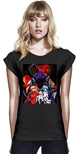 Neon Genesis Evangelion Continental T-shirt à manches Rolled des femmes Small