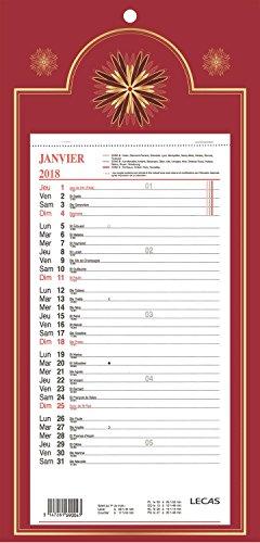 LECAS - 1 Plaque Calendrier Mensuel Long Classique - Janv. à Déc. 2019- 16 x 33,3 cm - 4 coloris disponibles