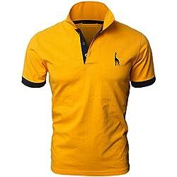 YIPIN Hombre Polo de Manga Corta Bordado de Ciervo Deporte Golf Camisa Poloshirt Negocios Camiseta de Tennis Verano T-Shirt,Amarillo,L