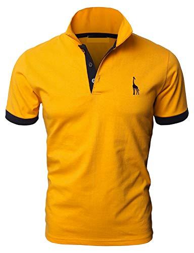 YIPIN Hombre Polo de Manga Corta Bordado de Ciervo Deporte Golf Camisa Poloshirt Negocios Camiseta de Tennis Verano T-Shirt