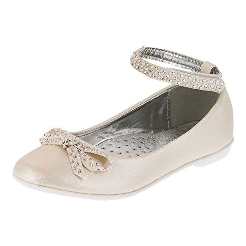 Giardino Doro Festliche Mädchen Ballerinas Schuhe mit Echt Leder Innensohle M414pws Perlmutt Weiß 32
