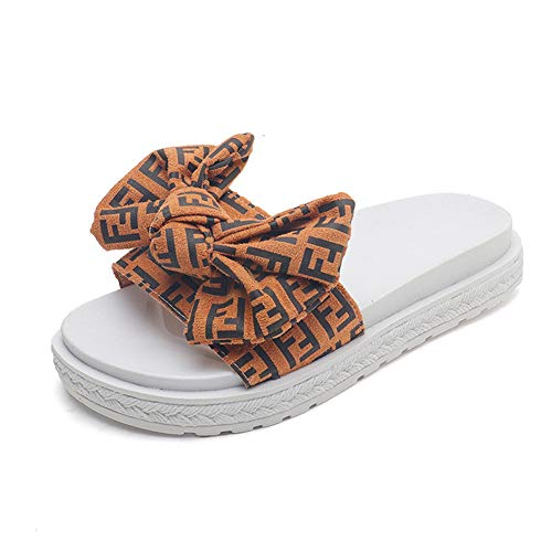 Zehen-sandalen Schleife (NVSRZTX Damen Sommer Pantoletten Sandalen Schleife Pantoletten Schlappen Komfort Sandalen,Brown,38)